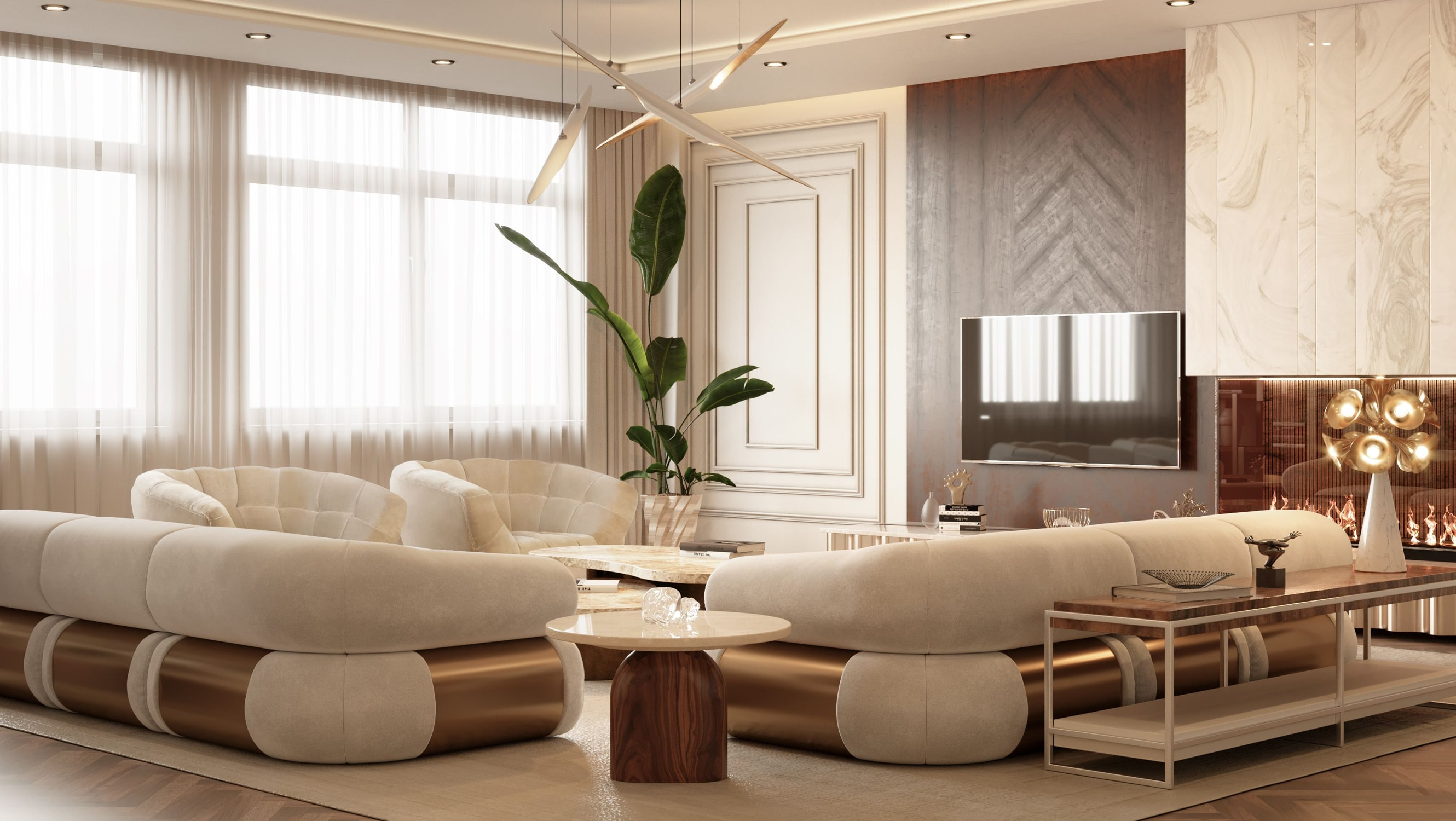 living room - AN EXCEPTIONAL CONTEMPORARY MODERN 16 MILLION PENTHOUSE IN MONACO