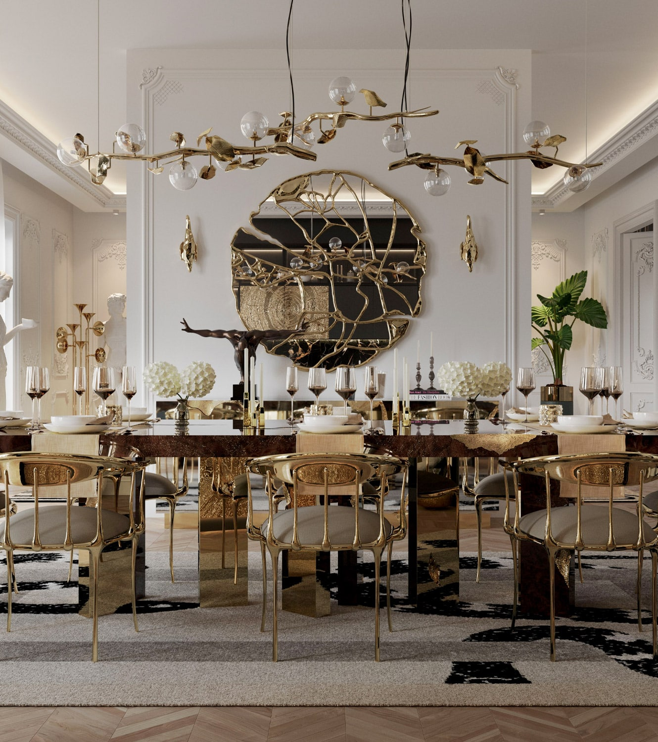 dining room - BOCA DO LOBO'S DELUXE PENTHOUSE IN THE HEART OF PARIS