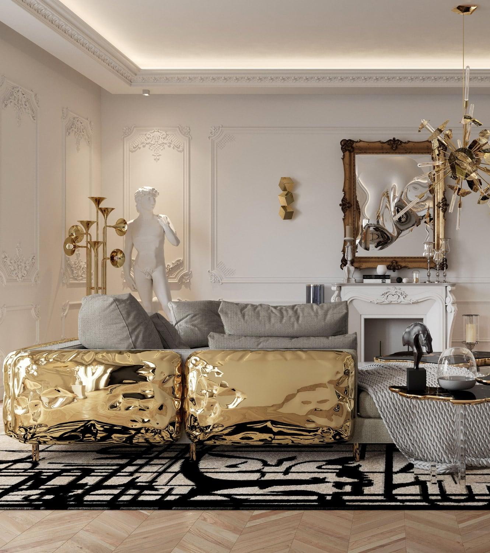 living room - BOCA DO LOBO'S DELUXE PENTHOUSE IN THE HEART OF PARIS