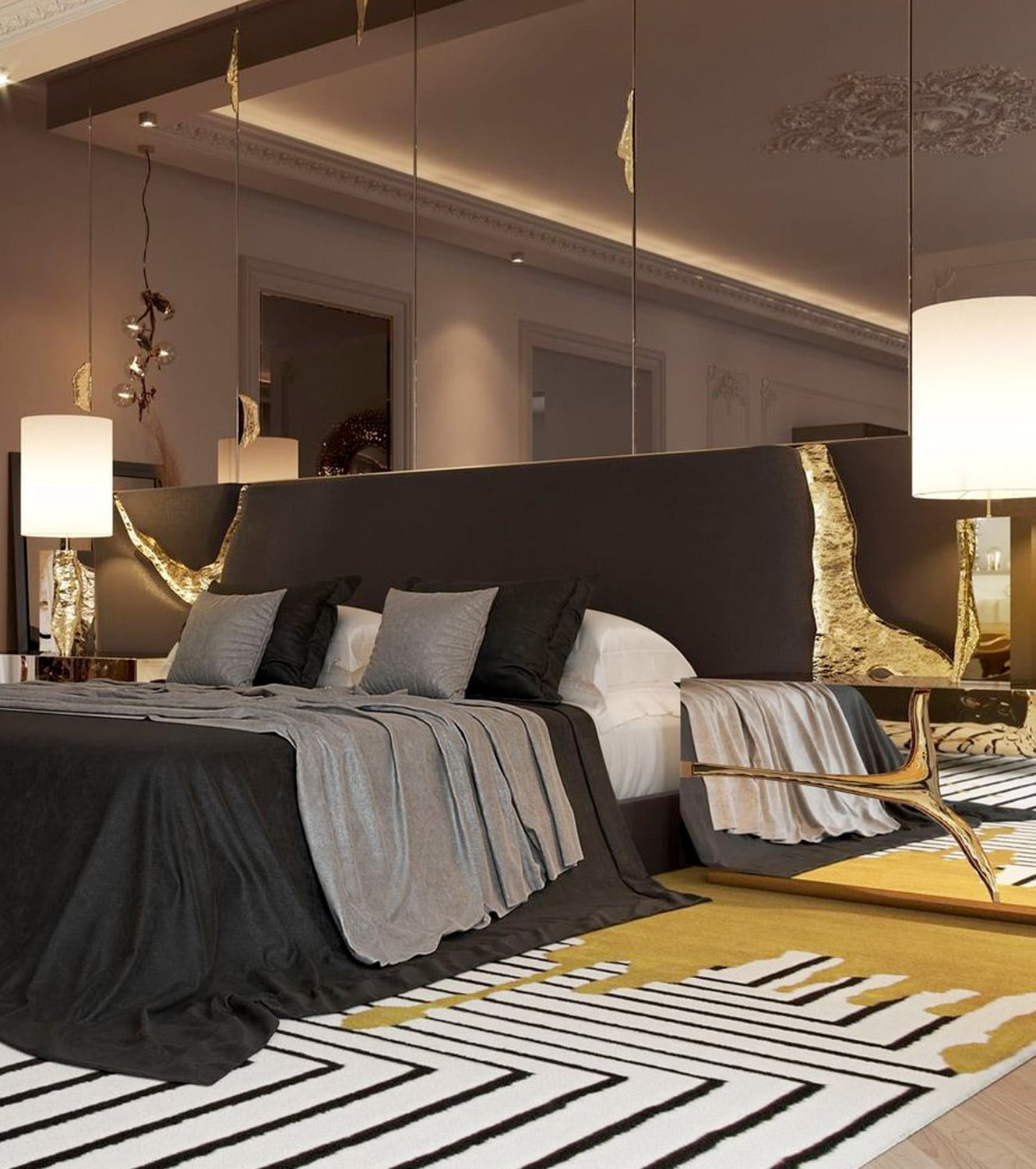 master suite - BOCA DO LOBO'S DELUXE PENTHOUSE IN THE HEART OF PARIS